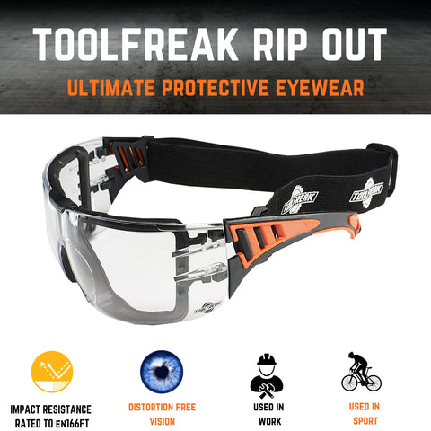 toolfreak rip out safety glasses clear lens with pouch 5
