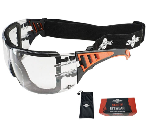 toolfreak rip out safety glasses clear lens with carry pouch