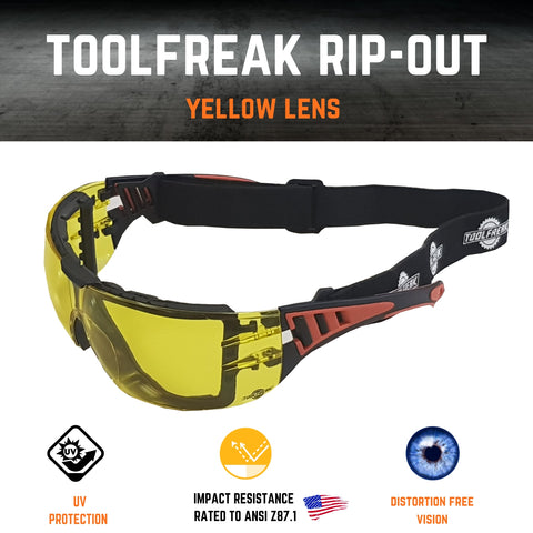 toolfreak rip out safety glasses yellow lens with carry pouch 5