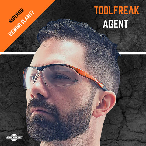 ToolFreak Agent Work & Sports Safety Glasses with Distortion Free Clear Wraparound Lenses, ANSI z87+ Rated, Impact & UV Protection, Hard Case & Cloth + Neck Cord 2