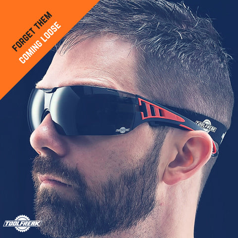 ToolFreak Rip Out Work and Sports Safety Glasses & Sunglasses, Anti Glare Wraparound Smoke Tinted Lens, Fog and Scratch Reduction, Foam Padded, Impact & UV Protection, Headstrap & Carry Pouch 2