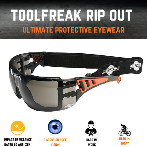 ToolFreak Rip Out Work and Sports Safety Glasses & Sunglasses, Anti Glare Wraparound Smoke Tinted Lens, Fog and Scratch Reduction, Foam Padded, Impact & UV Protection, Headstrap & Carry Pouch 7
