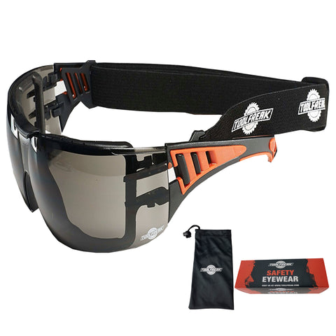 ToolFreak Rip Out Work and Sports Safety Glasses & Sunglasses, Anti Glare Wraparound Smoke Tinted Lens, Fog and Scratch Reduction, Foam Padded, Impact & UV Protection, Headstrap & Carry Pouch 1