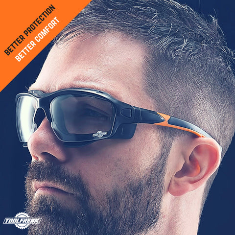 ToolFreak Spoggles Safety Glasses for Work & Sport, ANSI Z87 Rated, Foam Padded, Clear Distortion Free Lenses, UV & Impact Protection, Headstrap and Carry Pouch 3