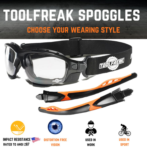 ToolFreak Spoggles Safety Glasses for Work & Sport, ANSI Z87 Rated, Foam Padded, Clear Distortion Free Lenses, UV & Impact Protection, Headstrap and Carry Pouch 9
