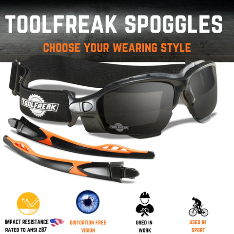 ToolFreak Spoggles Work and Sports Safety Glasses, Anti Glare Distortion Free Smoke Tinted Lens, Foam Padded, Wear them as Glasses or Goggles,Protect from Impact & UV, Headstrap and Carry Pouch 7