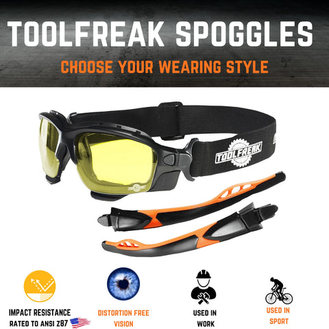 ToolFreak Spoggles Safety Glasses for Work & Sport HD Yellow Lens, Anti Glare, Impact Protection, Filter Out Blue Light, Foam Padded, ANSI Z87 Rated, Head Strap & Carry Pouch 7