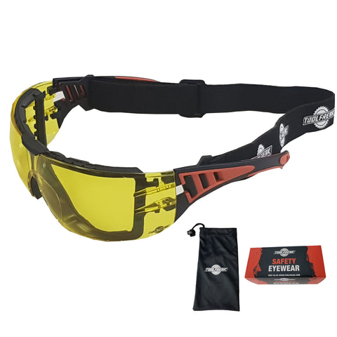 ToolFreak Rip Out Safety Glasses HD Yellow Lens with Pouch