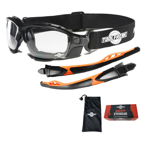 ToolFreak Spoggles Protective Eyewear Clear Lens with Carry Pouch