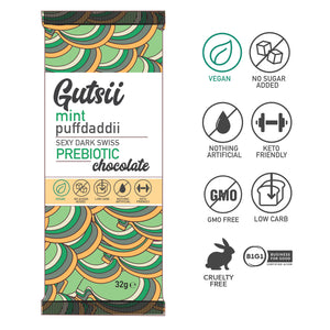 PRESALE | Gutsii Prebiotic Dark Swiss Chocolate - Mint Puffdaddii - 21x32g Box Set