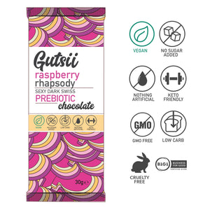 PRESALE | Gutsii Prebiotic Dark Swiss Chocolate - Raspberry Rhapsody - 20x30g Box Set
