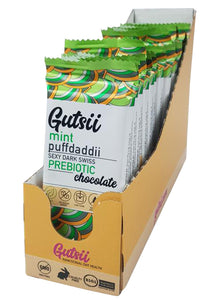 Gutsii Prebiotic Dark Swiss Chocolate - Mint Puffdaddii - 20 x 32g Box Set USA
