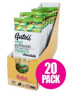 Gutsii Prebiotic Dark Swiss Chocolate - Mint Puffdaddii - 20 x 32g Box Set