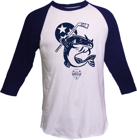 Stanley the Catfish #1 NAVY/WHITE Raglan Shirt - Unisex  Crew