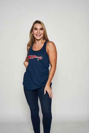 Load image into Gallery viewer, Tri-Star Guitar Ladies Flowy Racerback Tank - Navy
