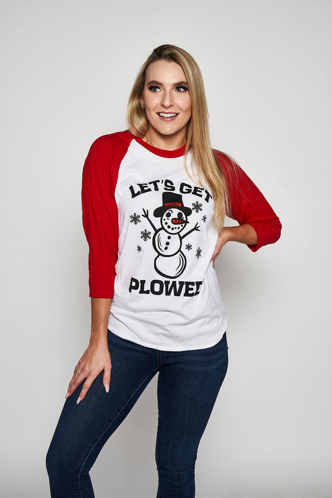 Let's Get Plowed Smowman Raglan Tee - Softstyle White/Red