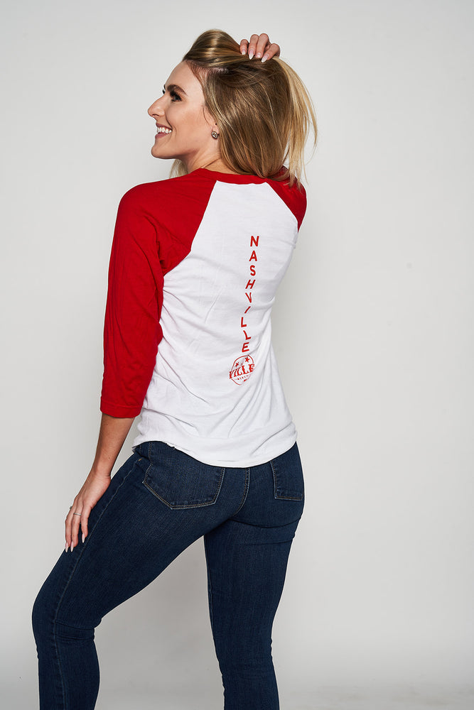 Load image into Gallery viewer, Let's Get Plowed Smowman Raglan Tee - Softstyle White/Red