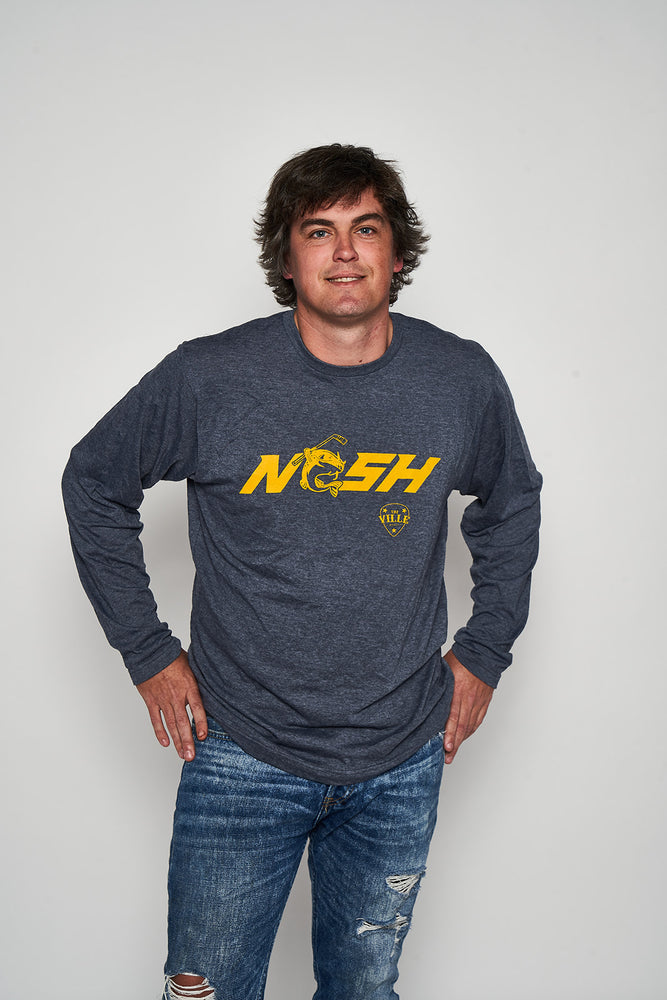 Stanley the Catfish NASH 50/50 blend heather navy long sleeve
