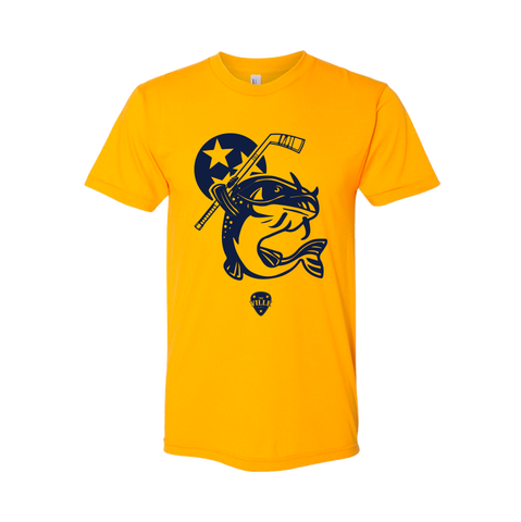 Stanley the Catfish Tee - Men's 60/40 Crew- Heather Gold