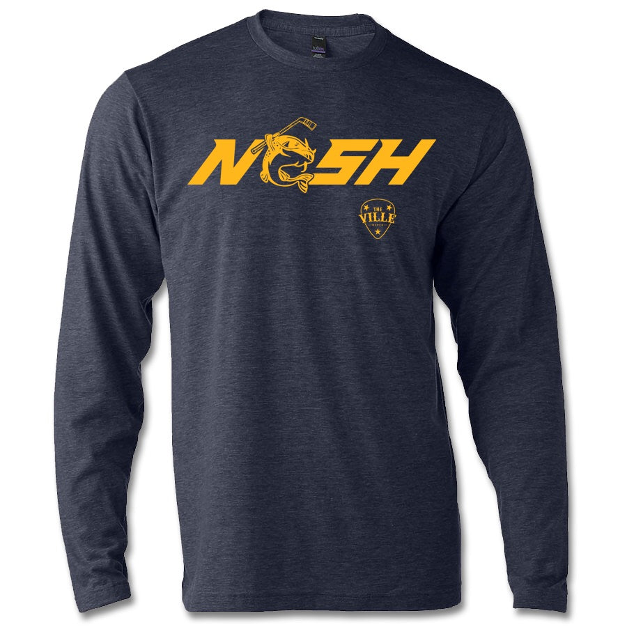 Load image into Gallery viewer, Stanley the Catfish NASH 50/50 blend heather navy long sleeve