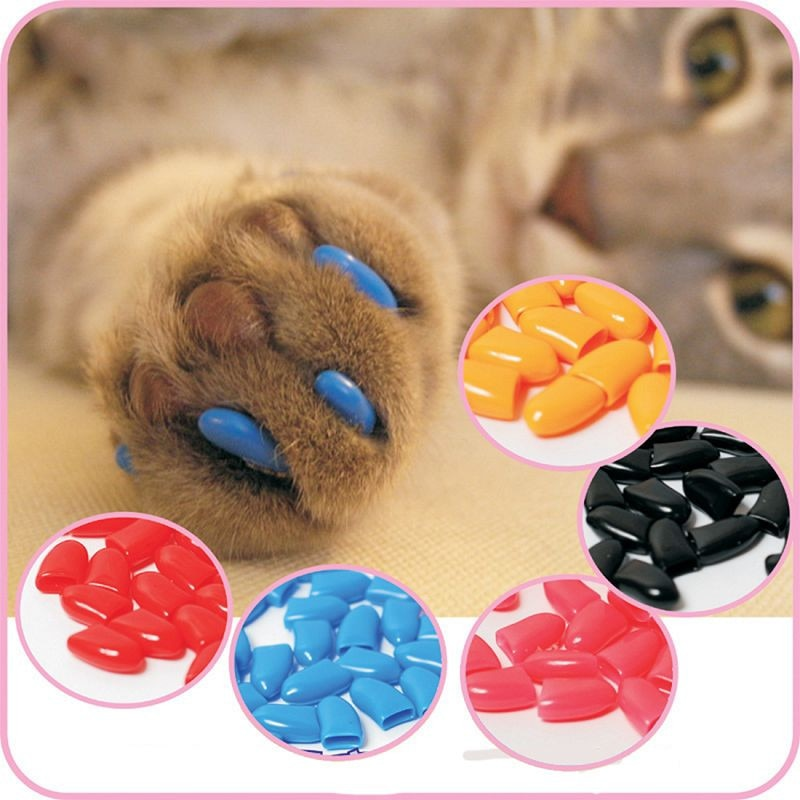 New Colorful 20pcs Cats Dogs Paws Caps