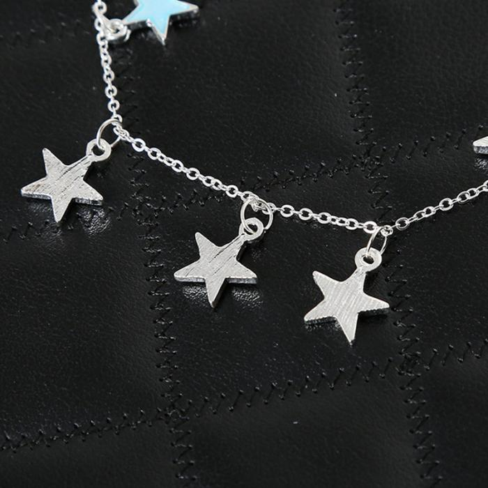 Summer Luminous Ankle Heart Star Pendant Bracelet