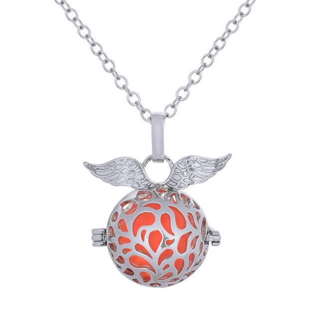 LU YING Mexico Bola Cage Pendant Angel ball 16mm Harmony Ball with Chain Necklace