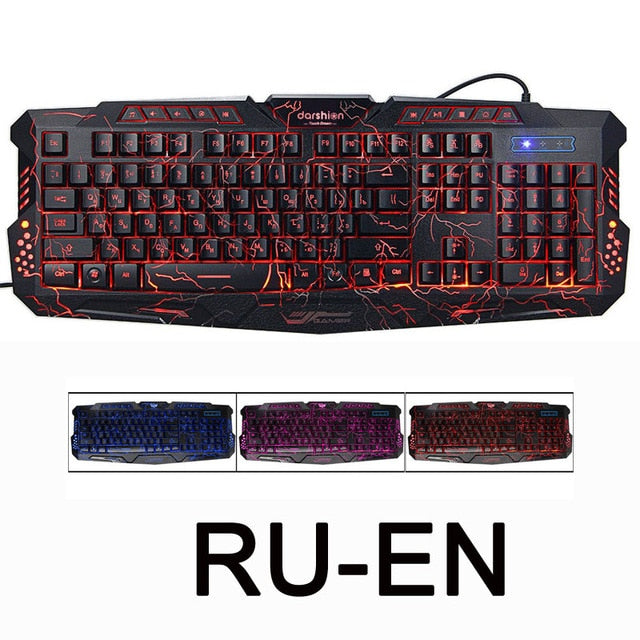 Backlit Keyboard LED 3-Color USB Wired Waterproof Computer Gaming Keyboard