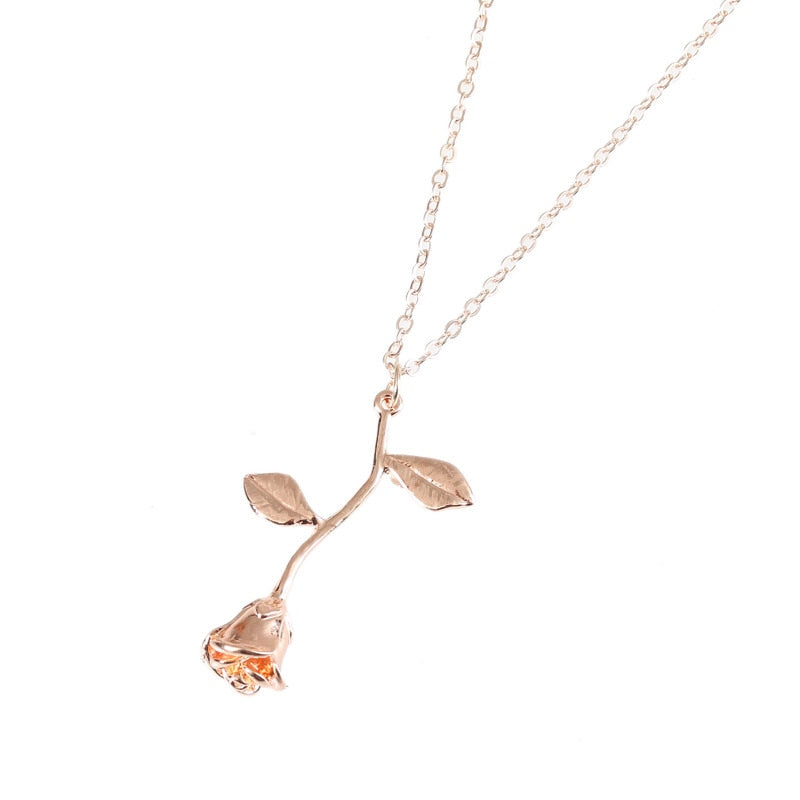 Collier Gold Rose Statement Pendant Necklace