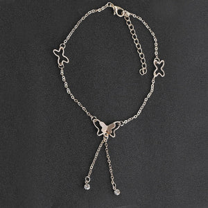 Butterfly Anklet Pendant Tassel Rhinestone Barefoot Sandals Jewelry