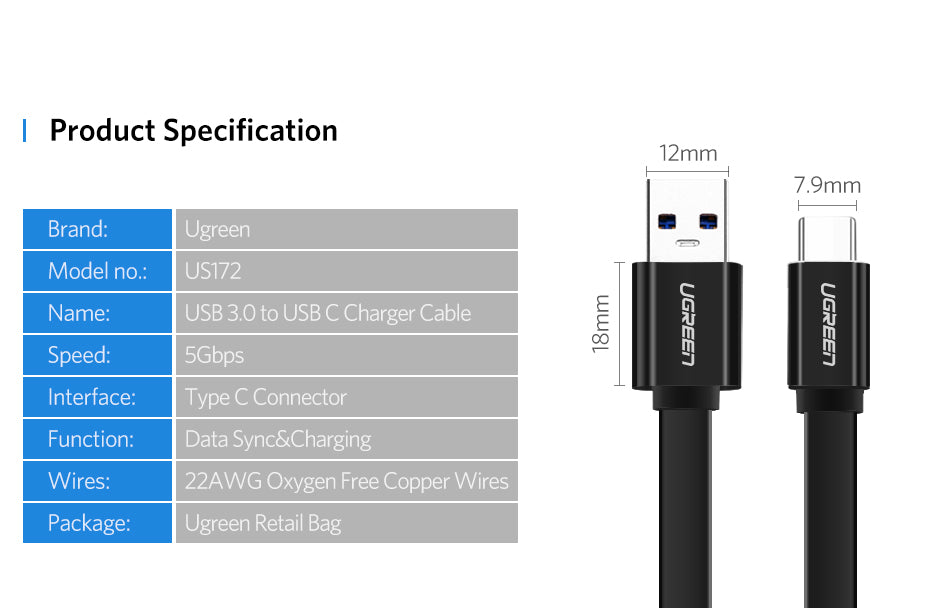 USB Type C Cable for Samsung Galaxy S9 Note 8 9