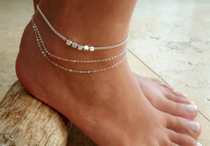 Gold Silver Color moda praia Anklet Bracelet Summer Beach Foot Jewelry