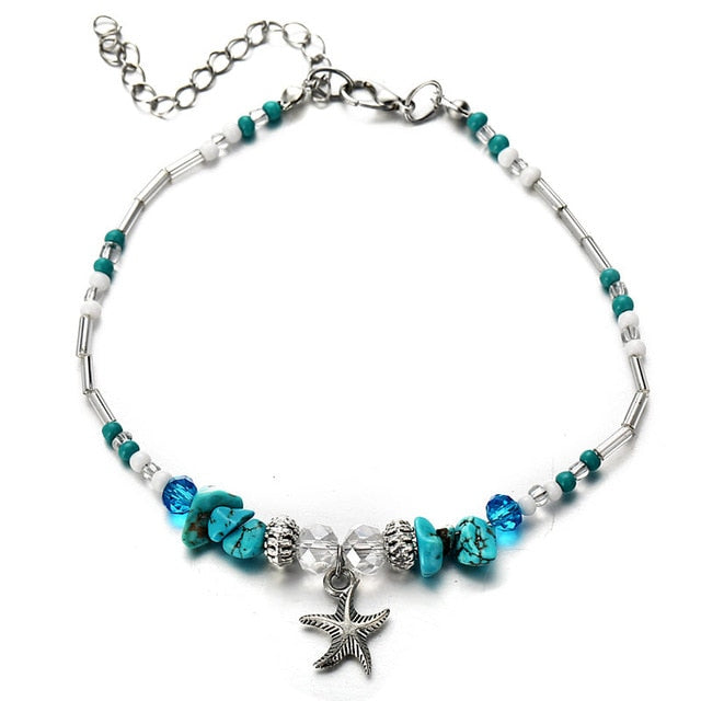 Bohemian Starfish Beads Stone Anklets for Women