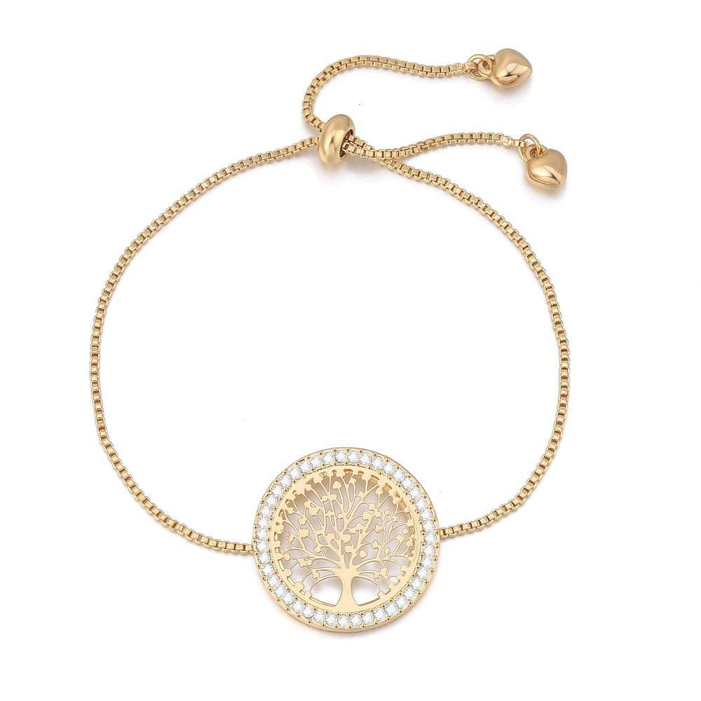Women Clear Crystal Gold Charm Bracelets Bangles