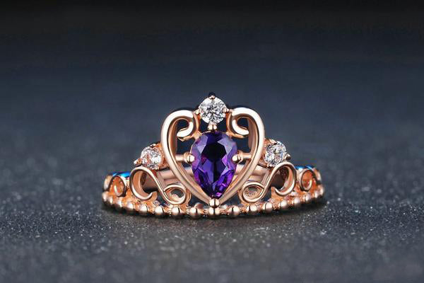 Crown Natural Teardrop Amethyst 925 Sterling Silver Ring with Rose Gold Plated S925