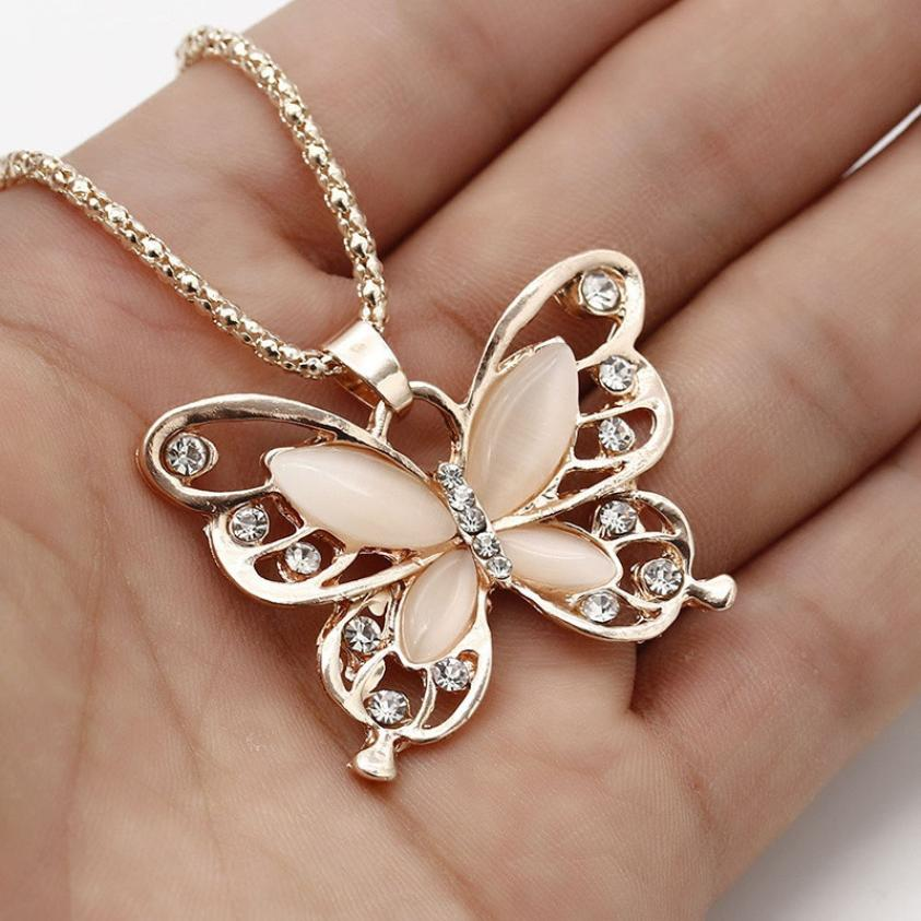 Flawless Rose Gold Opal Butterfly Pendant