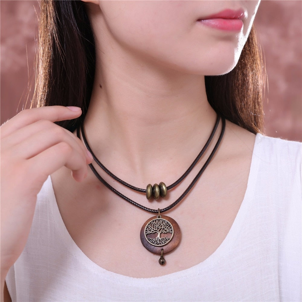 vintage Tree Design Wooden Long Necklace