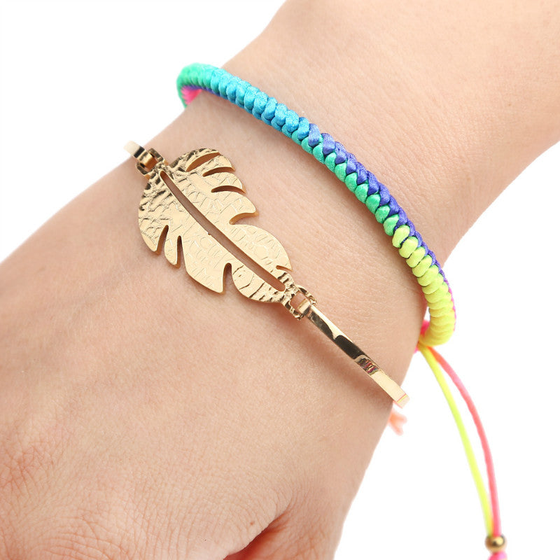 Gold Tone Stainless Steel Leaf Bracelet For Lovers