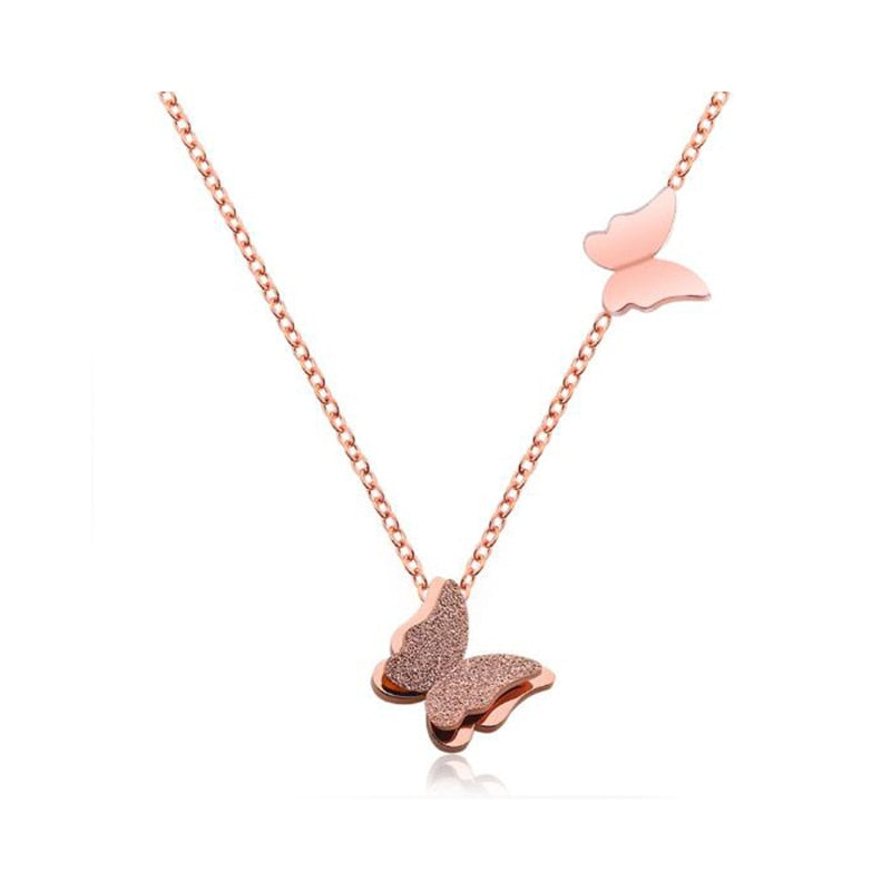 Cute Matte Double Butterfly Charms Necklace