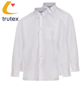 Trutex Boys Easycare White Shirts - Twin Pack