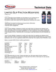 Torco Limited Slip Additive spec sheet
