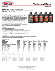 Torco RFF Racing Fork Fluid 10 spec sheet