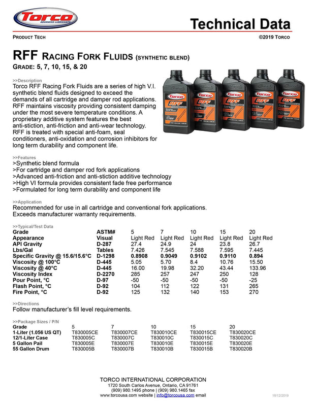 Torco RFF Racing Fork Fluid 20 spec sheet