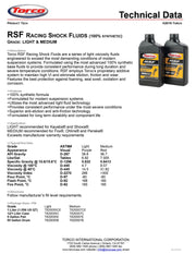 Torco RSF Racing Shock Fluid Light spec sheet