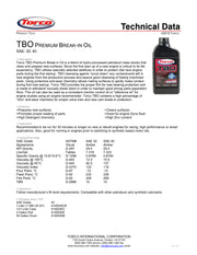 Torco TBO SAE 40 Break-In Oil - 1 Liter