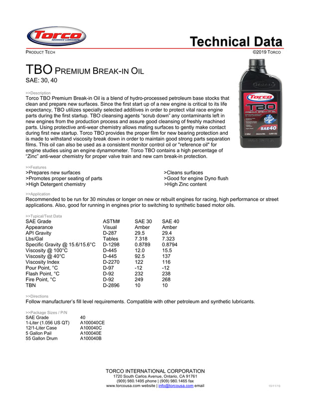 Torco TBO SAE 30 Break-In Oil spec sheet