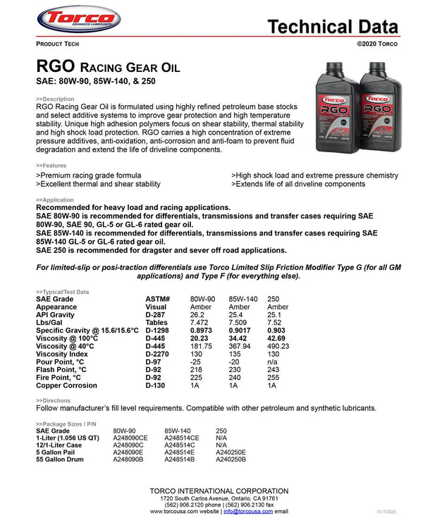 RGO Racing Gear Oil specs torco