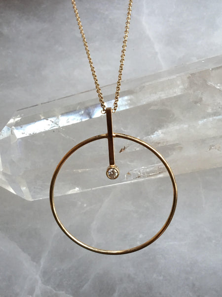 Large Circle & Bar Necklace