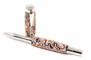 Jr George Rhodium accented Pen made with White Paua Abalone - 3 Gen Pen Company
