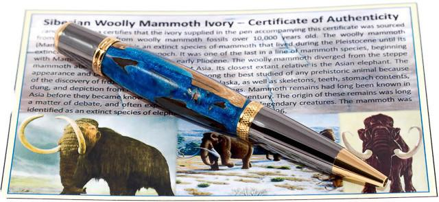 Mammoth Tusk Fossil Pen with Gun Metal/Gold Accents - 3 Gen Pen Company